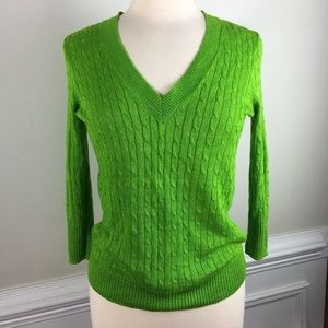 J. Crew Green 100% Linen Cable Knit Sweater